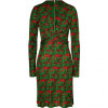 Issa Leaf Green/Flame Red Patterned Dress