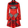 Mary Katrantzou Red Typewriter Silk Peplum Dress