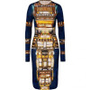 Peter Pilotto Blue-Multi Wool Jersey Dress