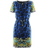 Versace Blue Leo Studded Dress