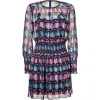 Anna Sui Navy-Multi Scattered Print Silk Kleid
