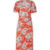 Collette Dinnigan Tangerine Hibiscus Wrap Front Silk Jersey Dress