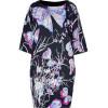 Emilio Pucci Black and Lotus Printed Silk Dress