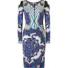 Emilio Pucci Navy/Azure Graphic Print Peep-Shoulder Dress