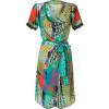 Etro Emerald Multicolor Belted Kleid