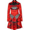 Mary Katrantzou Red Typewriter Silk Peplum Dress