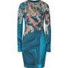 Matthew Williamson Turquoise/Mint Printed Draped Jersey Dress
