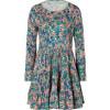 Saloni Peach Bird Print Silk Jersey Dress