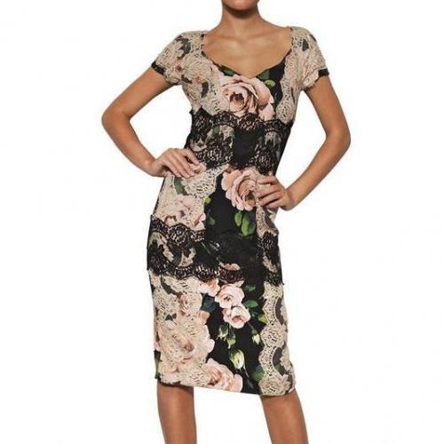 dolce gabbana viskosen cady spitzen kleid mit rosen print. Black Bedroom Furniture Sets. Home Design Ideas