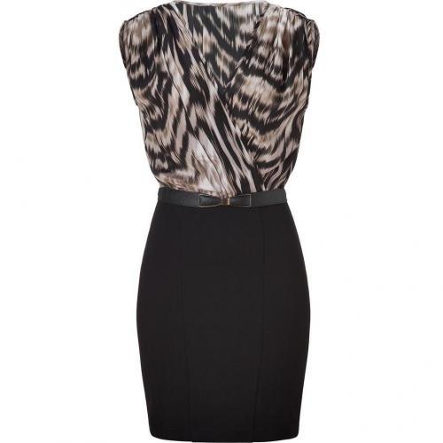 Akiko Black/Beige Ponte/Silk Combo Dress