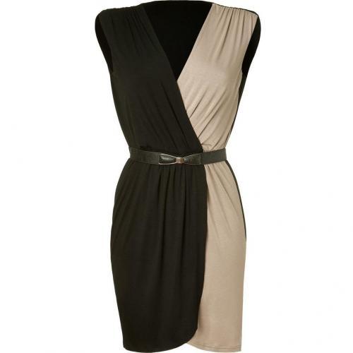 Akiko Black/Fawn Belted Colorblock Dress