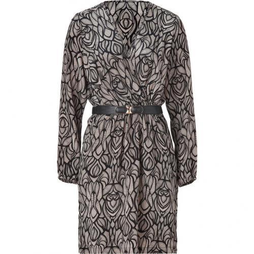Akiko Black/Fawn Silk Wrap Dress