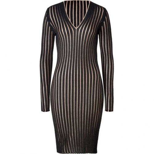 Akris Anthracite/Camel Ribbed Cashmere-Silk Dress