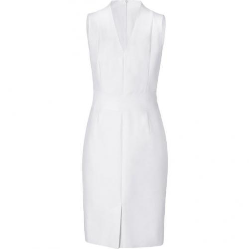 Akris White Sheath Dress with Leather Trim