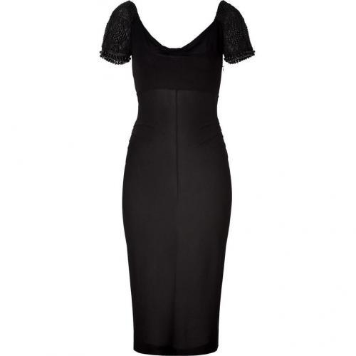 Alberta Ferretti Black Pearl Embroidered Drape Dress