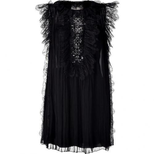Alberta Ferretti Black Pleated Silk Dress With Crystal Detailing