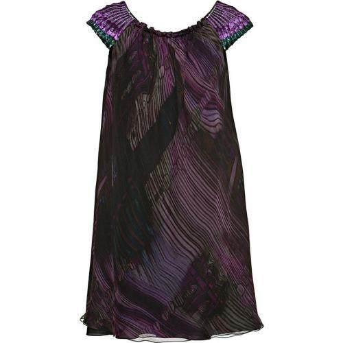 Alberta Ferretti Embroidered Chiffon Dress Purple/Black