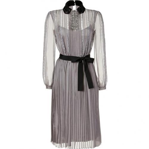 Alberta Ferretti Silver Grey Sequin Embellished Belted Silk Chiffon Dress