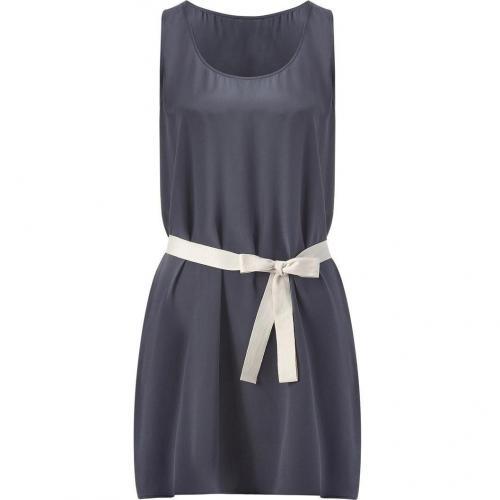 American Vintage Petrol Silk Belted Mini-Dress
