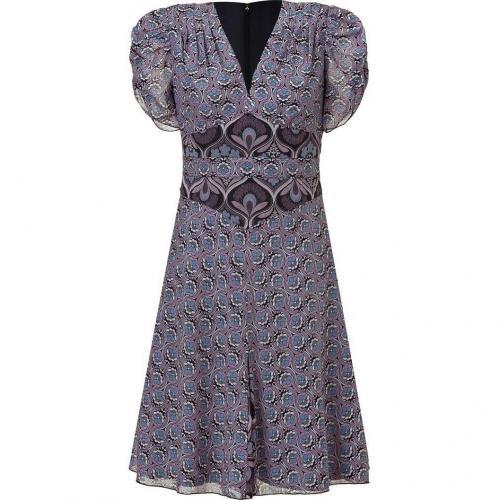 Anna Sui Black and Amethyst Art Deco Printed Kleid