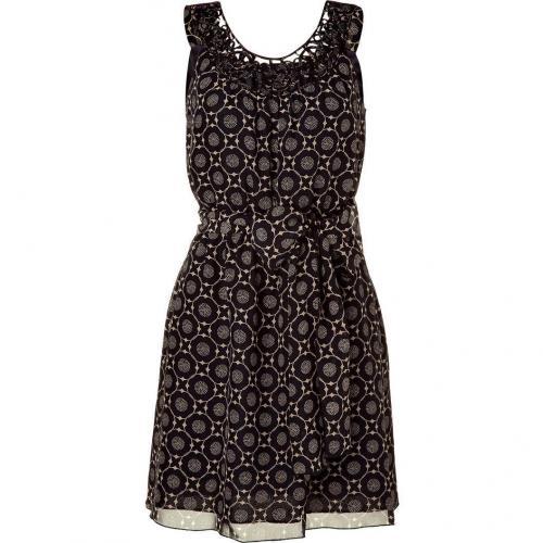 Anna Sui Black/Cream Smocked Waist Kleid with Belt