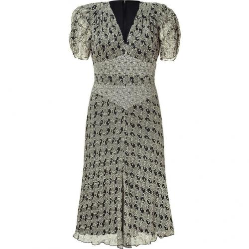 Anna Sui Black Printed Silk Kleid