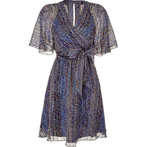 Anna Sui Electric Blue Lurex Wrap Kleid