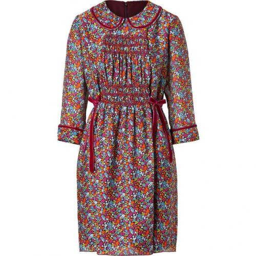 Anna Sui Merlot-Multi Chrysanthemum Print Silk Kleid