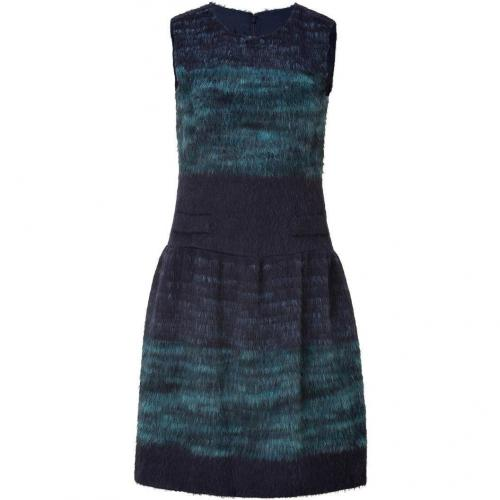 Anna Sui Navy and Turquoise Wool Blend Kleid
