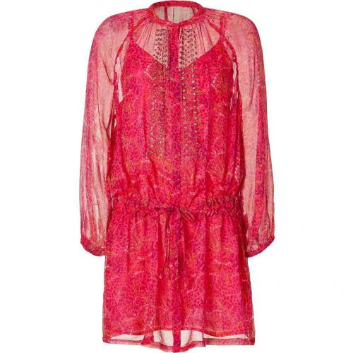 Antik Batik Fuchsia Multicolor Print Silk Tunic Dress