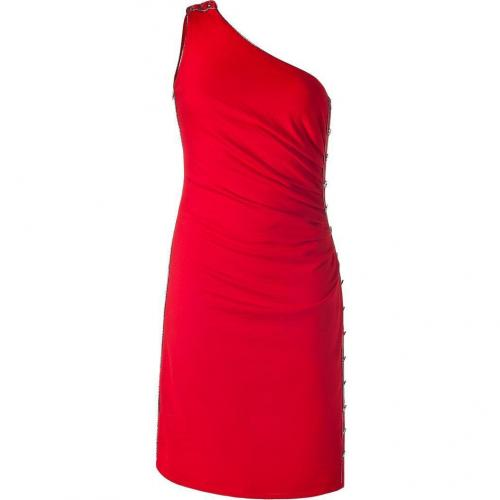 Azzaro Scarlet Red One Shoulder Knit Dress