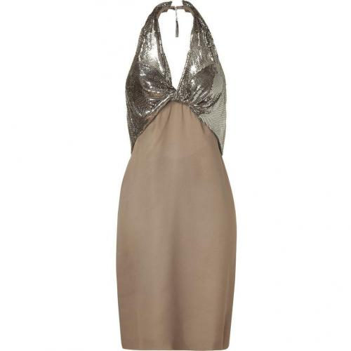 Azzaro Taupe and Silver Embellished Halter Dress