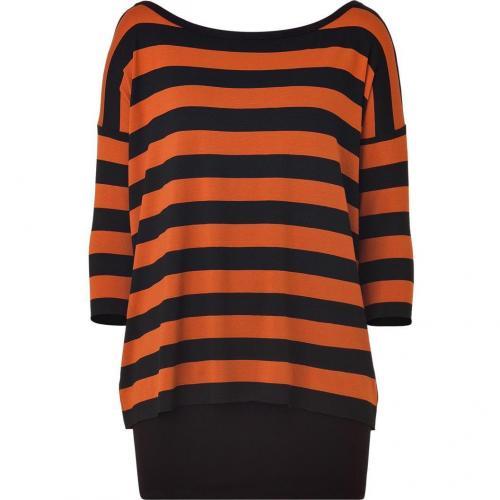 Bailey 44 Black/Tomato Striped Double Layer Dress