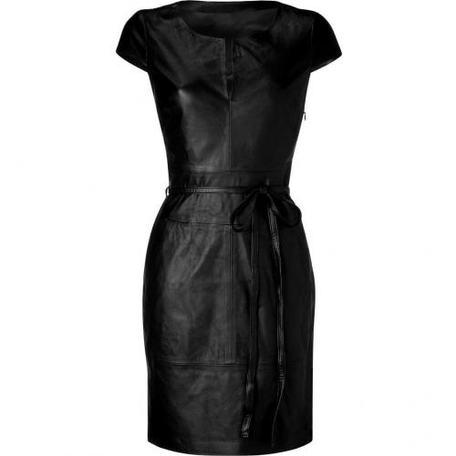 Bird by Juicy Couture Black Belted Leather Dress