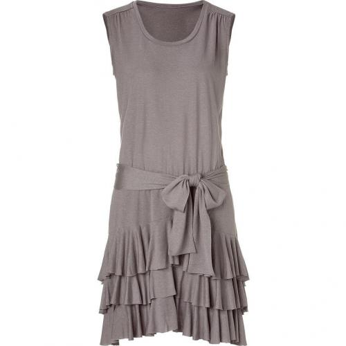 Bird by Juicy Couture Pale Taupe Ruffled Dress With Cut Out Back