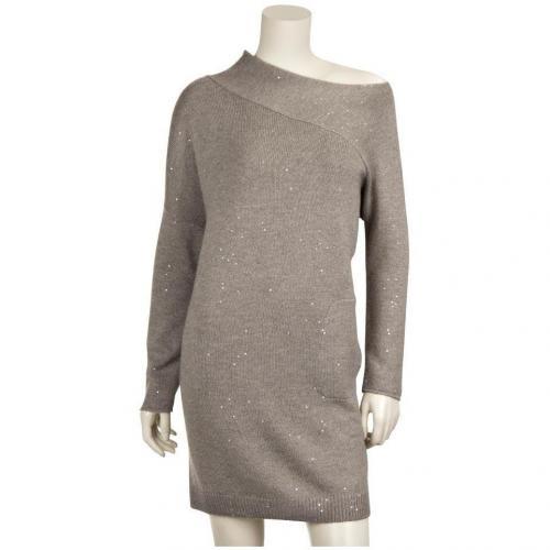 Brunello Cucinelli Paillettenbesticktes Seide/Cashmere-Kleid Grau