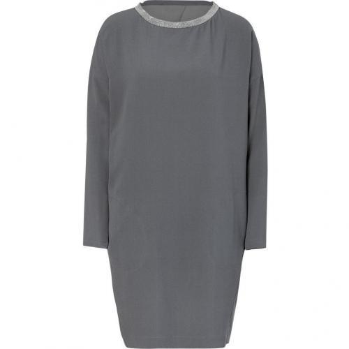 Brunello Cucinelli Platinum Silk Dress with Embellished Collar