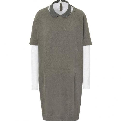 Brunello Cucinelli Tonal Grey/Olive Heather Layered Cashmere Shirt/Dress