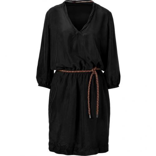 Burberry Brit Black Belted Silk Kleid