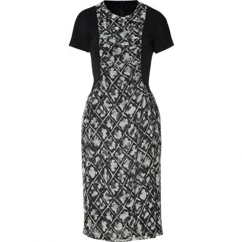 Burberry London Charcoal Patterned Silk Chiffon Kleid