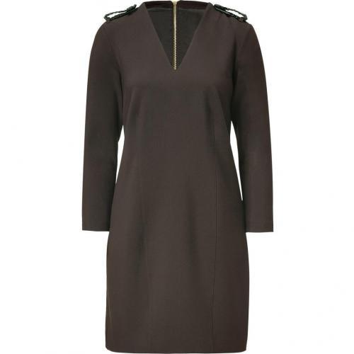 Burberry London Dark Clove Kleid with Braided Leather Epaulettes