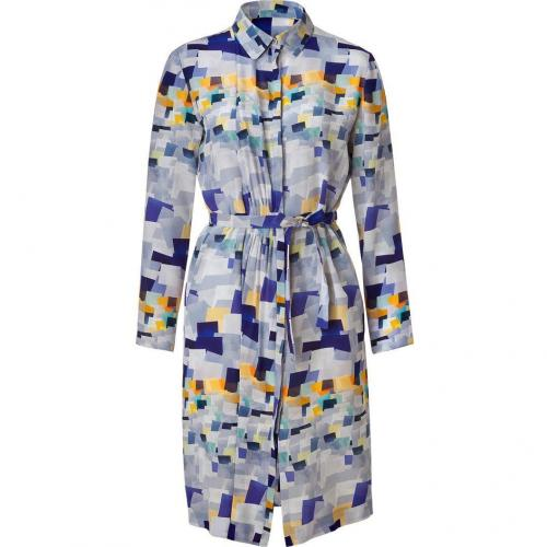 Cacharel Multicolor Belted Silk Kleid