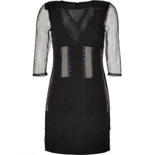 Catherine Malandrino Black Lace Paneled Silk Dress