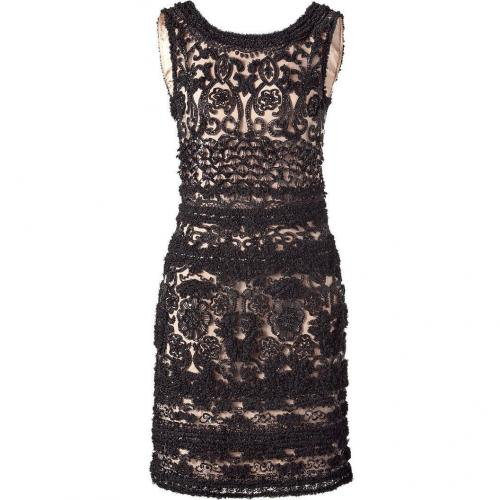 Collette Dinnigan Black/Nude Embroidered Tulle Dress
