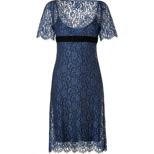 Collette Dinnigan Liberty Blue Corded Lace Dress