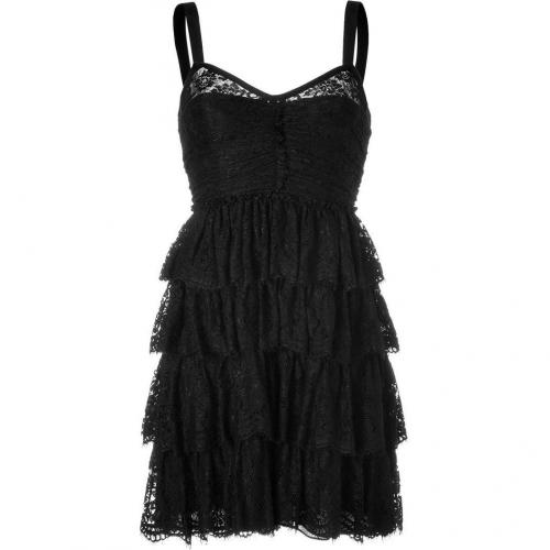 D&G Dolce & Gabbana Black Tiered Lace Kleid