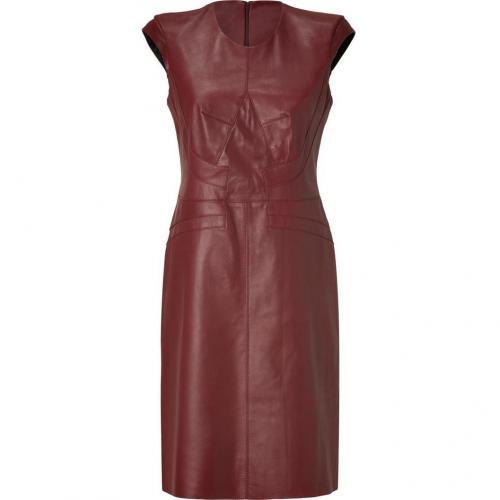 Derek Lam Wine Seamed Cap Sleeve Leather Dress