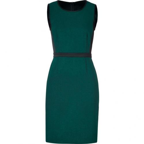 DKNY Azurite Green/Black Mixed-Media Sheath Kleid