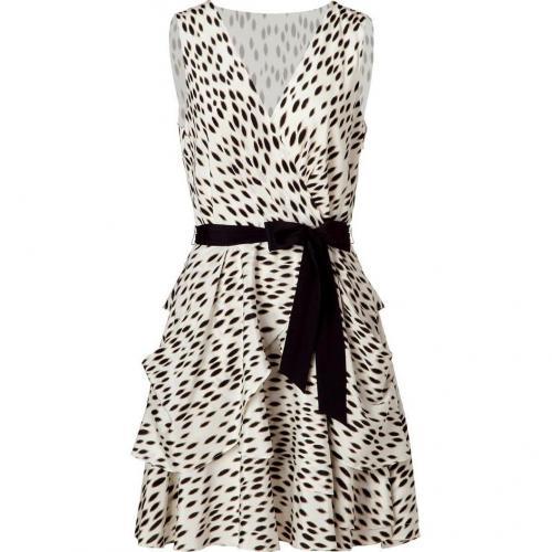 DKNY Beige/Black Belted Silk Kleid