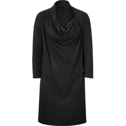 DKNY Black Drape Neck Jersey Kleid